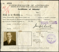 Lot 215:Australia: Commonwealth of Australia Certificate of Identity, for migrant from England to Australia. These Certificates of Identity were for one time use and took the place of a passport.