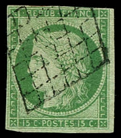 Lot 21807:1849-52 Ceres SG #4 15c green/bluish green 3-margins (4th just cut-into), Cat £1,200.