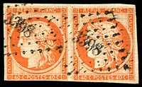 Lot 21811:1849-52 Ceres SG #15 40c red-orange pair, good margins (just touching at base of left unit) petite chiffre '3398' of Tours, Cat £1,400.
