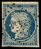 Lot 21809:1849-52 Ceres SG #10 25c greenish blue/yellowish 4 good margins, petite chiffre '345