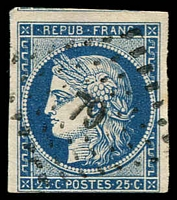 Lot 21810:1849-52 Ceres SG #11 25c deep blue 3 good margins (just touching at base), petite chiffre '79' of Angerville, Cat £85.