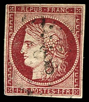 Lot 21812:1849-52 Ceres SG #18 1f carmine-brown, 3 good margins (just touching at TLC), Cat £1,200.