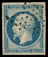 Lot 21815:1852 Napoleon SG #38 25c deep dull blue, 4 margins, Cat £95.