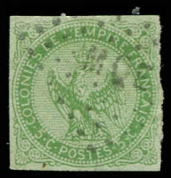 Lot 21324 [2 of 2]:1859-70 Eagle: SG #2 5c yellow-green 4 margins (right rough), cancelled 'MQE' of Martinique, Cat £11. Plus faulty 5c bronze-green. (2)