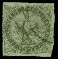 Lot 21324 [1 of 2]:1859-70 Eagle: SG #2 5c yellow-green 4 margins (right rough), cancelled 'MQE' of Martinique, Cat £11. Plus faulty 5c bronze-green. (2)