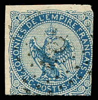 Lot 21328:1859-70 Eagle: SG #4a 20c blue 2 margins (others just cut into), Cat £14.50.