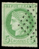 Lot 21331 [2 of 2]:1871-76 Ceres: SG #14 5c green x2 shades, both 4 margins, Cat £11.