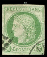 Lot 21331 [1 of 2]:1871-76 Ceres: SG #14 5c green x2 shades, both 4 margins, Cat £11.