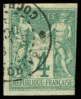 Lot 22379:1877-78 Peace & Commerce: SG #26 4c green, 3 margins, Saigon cds, Cat £14.