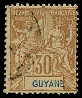 Lot 21407:1892 'GUYANE' SG #46 30c cinnamon/drab, Cat £25