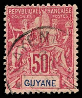 Lot 21408:1892 'GUYANE' SG #48 50c carmine/rose, Cat £18