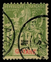 Lot 21409:1892 'GUYANE' SG #51 1f olive-green/toned, Cat £17