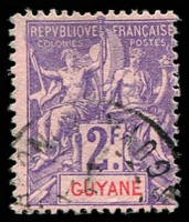 Lot 21410:1900-04 'GUYANE' New Coloure SG #57 2f violet/rose, Cat £17