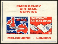 Lot 22406:Postal Strike: 1971 75p - 50p Emergency Air Mail Service London - Melbourne imperf minisheet.