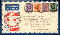 Lot 3687:1937 (Aug 24) illustrated air cover to New Zealand with 2d, 3d, 4d & 6d, flew on IE 578 to Brisbane.