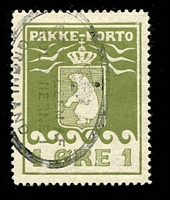 Lot 3595:1915-37 Pakke-Porto (A) Perf 11¼ SG #P4A 1ø green-olive, Cat £55.