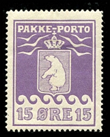 Lot 4102:1915-37 Pakke-Porto (A) Perf 11¼ SG #P8A 15ø violet, small thin, Cat £250.