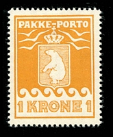 Lot 4189:1915-37 Pakke-Porto (B) Perf 10¾ SG #P11B 1k ochre-yellow, Cat £41.