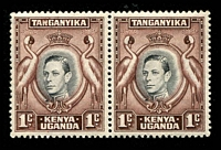 Lot 25030:1938-54 Pictorials SG #131ah, 1c black & deep chocolate-brown pair, left unit retouched value tablet, varietal unit MUH, Cat £50+