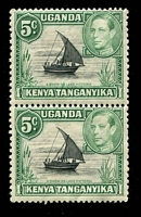 Lot 25031:1938-54 Pictorials SG #132, 5c black & green pair, typical brownish gum, Cat £13
