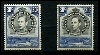 Lot 3767:1938-54 Pictorials SG #141,141b, 30c black & dull violet-blue P13¼ and P13¼x13¾, Cat £58. (2)