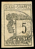 Lot 24484:1890 Imperfs SG #7 5c negress & white woman 4 good margins, Cat £225.