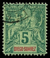 Lot 25378:1894 'DIEGO-SUAREZ SG #54 5c green/pale green, Cat £11.