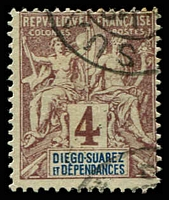 Lot 22217:1894 'DIEGO-SUAREZ ET DEPENDANCES' SG #40 4c purple-brown/grey