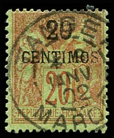 Lot 25022:1891-1900 SG #6 20c on 20c red/green, Cat £35, Tanger cancel.