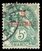 Lot 25025 [2 of 2]:1902-10 Surcharges SG #18a,19 5c on 5c blue-green & 10c on 10c carmine (2)