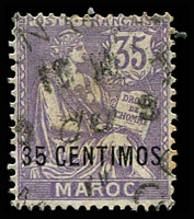 Lot 25028:1902-10 Surcharges SG #22 35c on 35c lilac, Cat £20