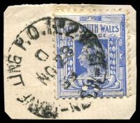 Lot 1112:West: Peck #2W3 'TRAVELLING P.O.NO2 WEST/D/NO28/99/N.S.W' (D inverted) on 2d Blue on piece. [Rated 7]