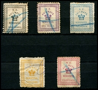 Lot 3991:1890 Newspaper Stamps: ½d grey-black, 1d violet, 2d blue, 3d yellow & 4d rose (repaired). (5)