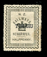 Lot 3992:1890 Newspaper Stamps: ½d grey-black with typed 'TIMARU', rare.