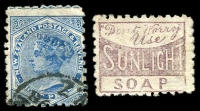 Lot 4166:1882-1900 2nd Sideface Wmk 12b Perf 10 SG #225 8d blue, brown-purple Sunlight Soap ad on back, Cat £70.