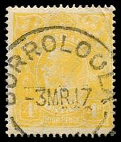Lot 1118:Borroloola: 'BORROLOOLA/3MR17/[N.T.]' on 4d lime-yellow KGV, an attractive item. [Very scarce in this period.]  PO 1/9/1886.