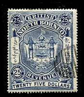 Lot 4035:1889 Revenue: $25 deep blue with remainder cancel.