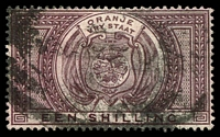 Lot 23940:1882-86 SG #F3 1/- purple-brown, fiscal cancel, Cat £28 for postal cancel.