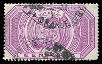 Lot 23942:1882-86 SG #F13 £1 purple, fiscal cancel, Cat £55 for postal cancel.