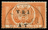 Lot 26358:1900 VRI Surcharge SG #T47 10/- orange, army Telegraphs cancel, Cat £25.