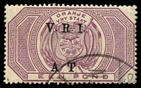 Lot 26359:1900 VRI Surcharge SG #T48 £1 purple, army Telegraphs cancel, Cat £30.