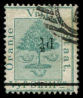 Lot 27008:1882 Surcharge SG #36 ½d on 5/- green.