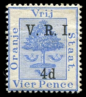 Lot 27012:1900 VRI Surcharge (Stops Level) SG #107 4d on 4d ultramarine, Cat £11.