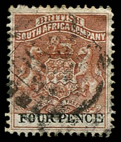 Lot 27052:1892-94 Bi-Colour Arms Perf 14,14½ SG #22, 4d chestnut & black.