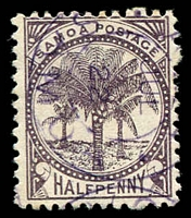 Lot 24960:1886-1900 Palm Trees P12x11½ SG #41a ½d blackish purple.