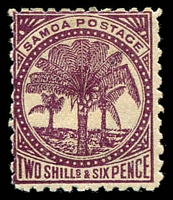 Lot 24962:1886-1900 Palm Trees Wmk 4b Perf 11 SG #64b 2/6d deep purple/toned, Cat £18.
