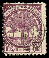 Lot 24963:1886-1900 Palm Trees Wmk 4b Perf 11 SG #64b 2/6d deep purple/toned, Cat £14.