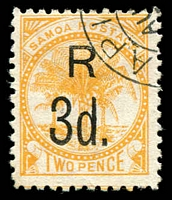 Lot 24964:1895-1900 Surcharges SG #76a, 3d on 2d yellow, P11, CTO?, Cat £14.