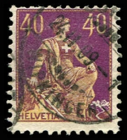 Lot 4415:1908 Seated Helvetia SG #231 40c orange-yellow & purple, enscribed 'L'Eplattenier' at BLC, Cat £120.