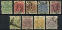 Lot 28926:1896-97: SG #216-24 complete set of 9, Cat £15.